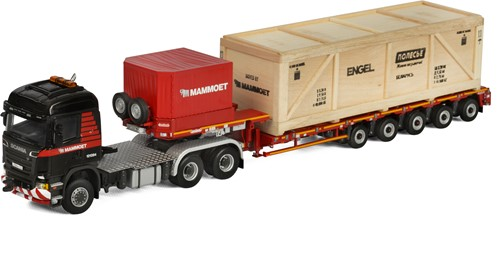 Mammoet Scania R6 Highline 6x6 + 5 axle low loader + wooden box